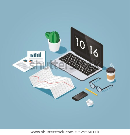 Vector isometric 3d artist workplace Stock photo © tele52