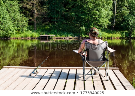 Halász halászat vágány bank ül áll Stock fotó © robuart