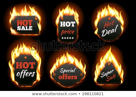 Advertising Icons in Flame, Vector Isolated Labels Stock photo © robuart