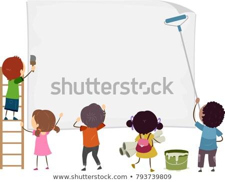 Stickman Kids Blank Paper Post Illustration Stock photo © lenm