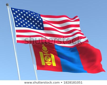 Two waving flags of China and mongolia Stock photo © MikhailMishchenko