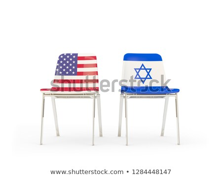 Due sedie bandiere Israele isolato bianco Foto d'archivio © MikhailMishchenko