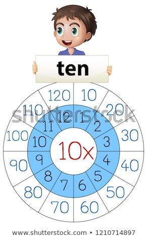 мальчика девять множественный таблице иллюстрация бумаги Сток-фото © colematt