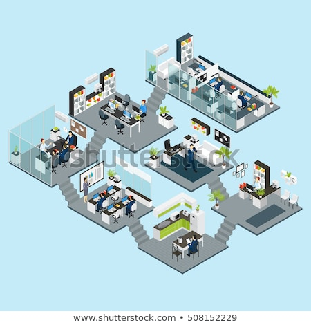 office life   modern colorful isometric vector illustration stock photo © decorwithme