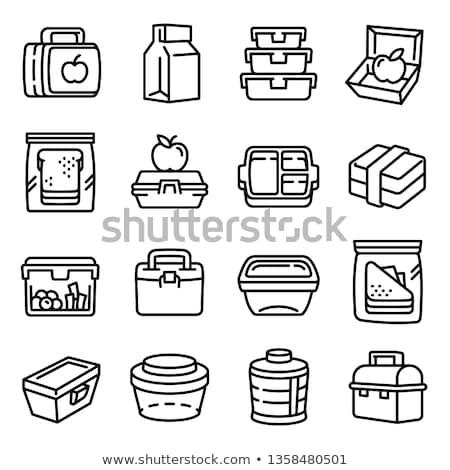 Lunchbox illustratie roze kip salade Stockfoto © colematt