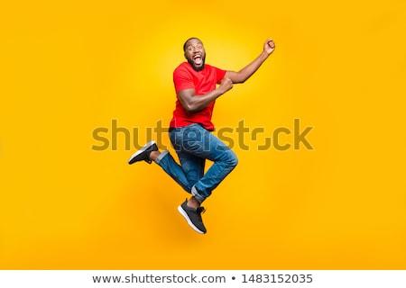 Teljes alakos fotó örömteli afrikai férfi elegáns Stock fotó © deandrobot