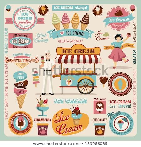 Vintage ice-cream shop emblems Stock photo © netkov1