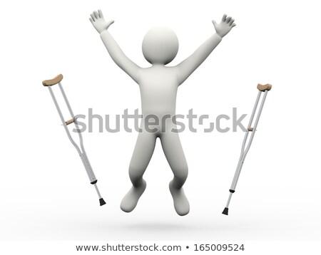 3D feliz homem saltando muletas Foto stock © ribah