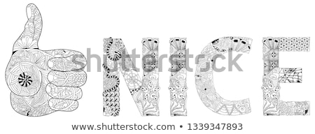 zentangle stylized hand thumbs up line color icon with word dislike for coloring hand drawn lace ve stock photo © natalia_1947