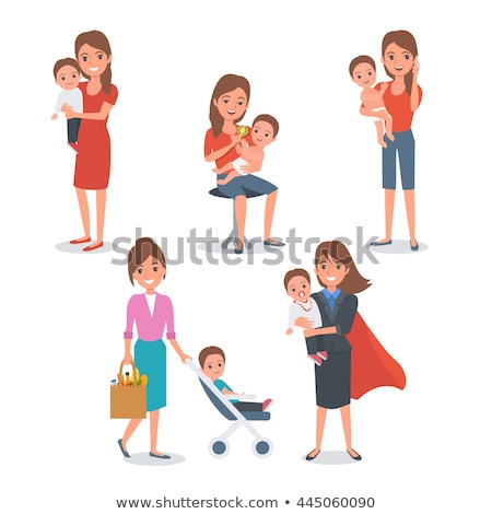 Woman Talking on Phone, Pram with Child Vector Stock photo © robuart