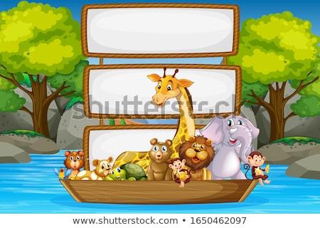 Foto stock: Bordo · plantilla · cute · monos · ilustración · paisaje
