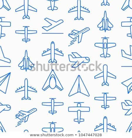 Сток-фото: Aviation Icons Set Pattern