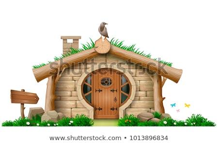 Conto de fadas moldura de madeira ilustração casa menina fundo Foto stock © colematt