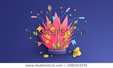 Buli üdvözlőlap kaktusz kalap boldog illusztráció Stock fotó © cienpies