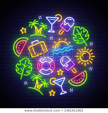 lifebuoy neon label stock photo © anna_leni