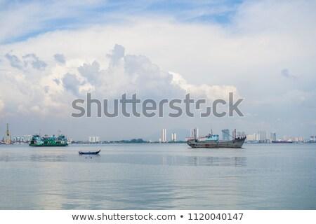 грузовое · судно · Восход · морем · лет · силуэта · волны - Сток-фото © galitskaya