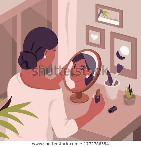 Güzel bir kadın makyaj yatak odası güzel bayan yüz Stok fotoğraf © konradbak