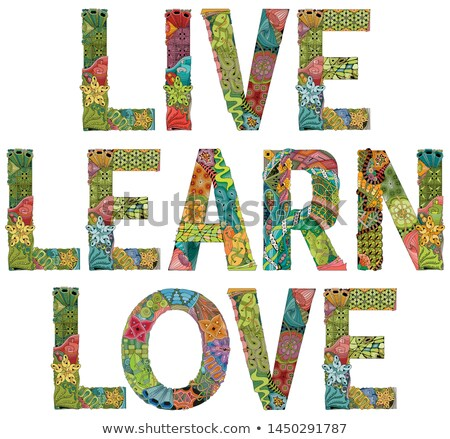 Palabras vivir aprender amor vector decorativo Foto stock © Natalia_1947