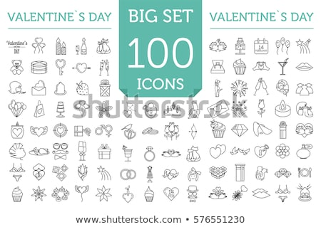 pigeon and heart wedding thin line vector icon stock photo © pikepicture