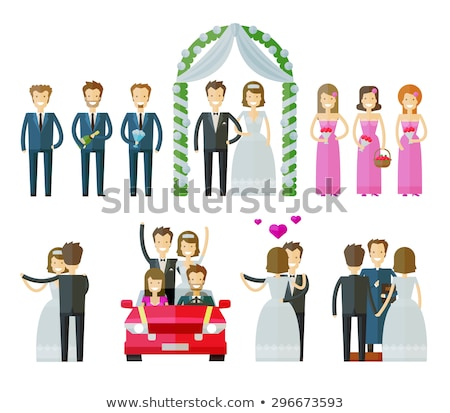 bride wedding bunch of flowers couple vector icon stock photo © pikepicture