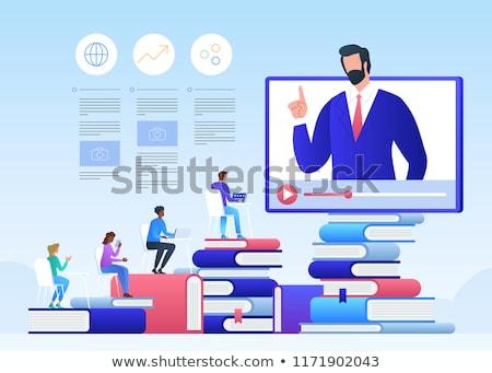 Foto stock: On-line · ensino · estudantes · internet · aprendizagem · computador