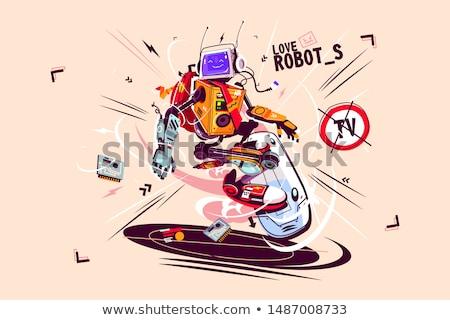 Funny computer robot on flying board Stock photo © jossdiim