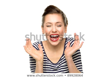 Laughing Woman with Closed Eyes and Open Mouth Stock photo © robuart