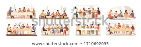 Set of Celebrating Family Holidays People Vector Stock photo © robuart