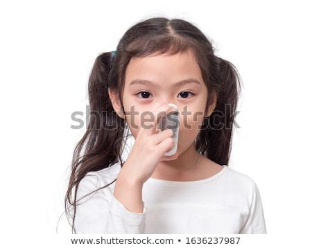 lány · tinilány · tart · izolált · fehér · gyermek - stock fotó © lopolo