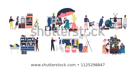 garage sale of accessory woman seller vector stock photo © robuart