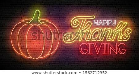 Gloed wenskaart gelukkig dankzegging opschrift neon Stockfoto © lissantee
