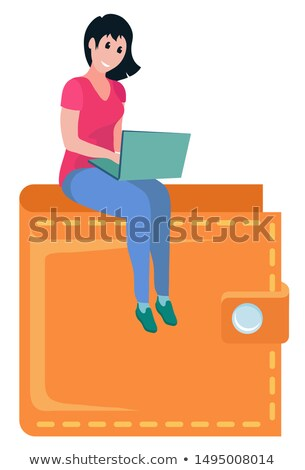 girl sitting on top of wallet girl laptop vector stock photo © robuart
