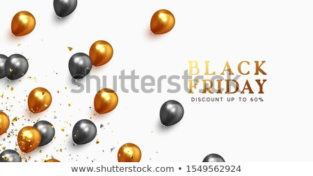 stylish black friday sale banner with realistic balloons stock photo © sarts