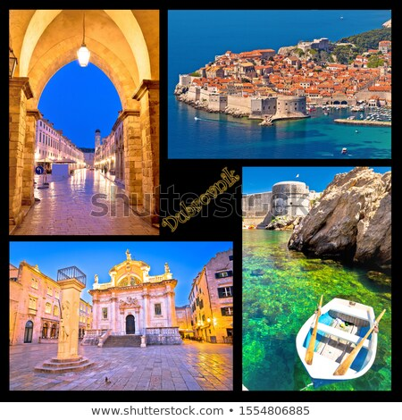 Dubrovnik postcard collage landmarks with label Stock photo © xbrchx