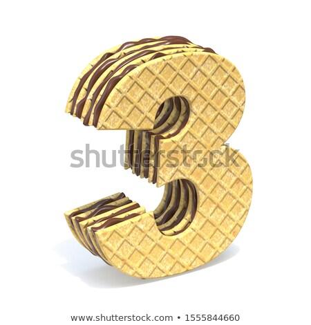 フォント チョコレート クリーム 充填 番号 3 ストックフォト © djmilic
