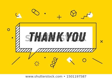 obrigado · bandeira · balão · de · fala · cartaz · geométrico · estilo - foto stock © foxysgraphic
