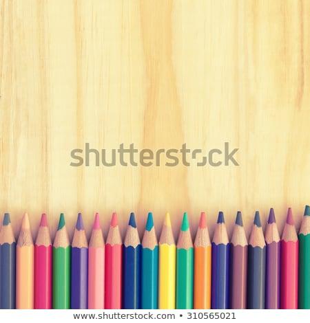 Színes ceruzák fa deszka iroda gyerekek fa Stock fotó © galitskaya