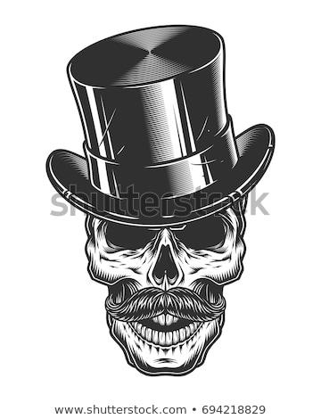 Croquis britannique crâne chapeau melon lunettes Photo stock © netkov1