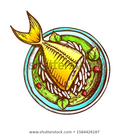 Soup With Fish, Daikon And Condiment Retro Vector Stock photo © pikepicture