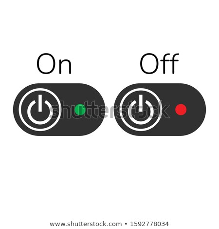ON OFF Buttons or Switch with light indicator. Stock Vector illustration isolated on white backgroun Stock photo © kyryloff