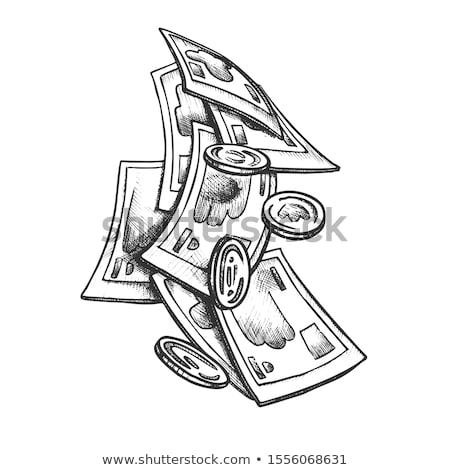 Money Banknotes And Coin Pounds Monochrome Vector Stock photo © pikepicture