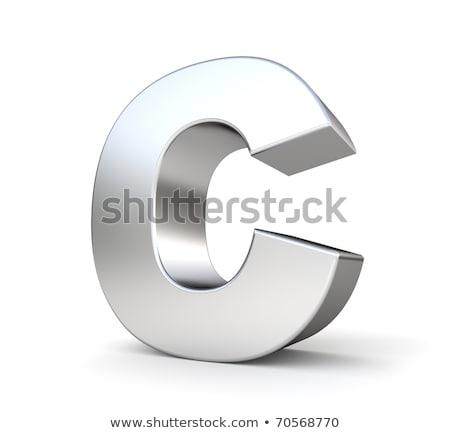 Brushed metal font Letter C 3D Stock photo © djmilic