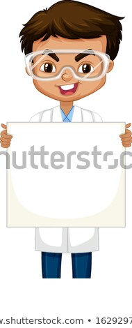 Boy in science gown with whiteboard on white background Stock photo © bluering