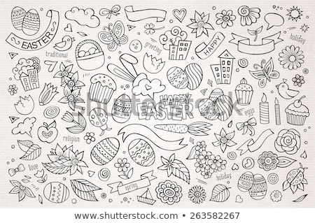 Spring hand drawn cartoon doodles illustration. Sketchy vector banner Stock photo © balabolka