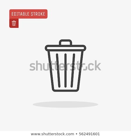 Trash Basket Icon Vector Outline Illustration Stock photo © pikepicture
