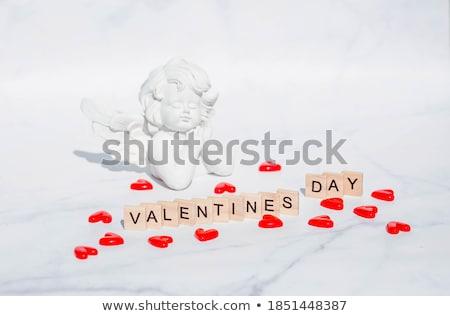 Mutlu sevgililer günü tebrik kartı melek erkek kırmızı Stok fotoğraf © robuart