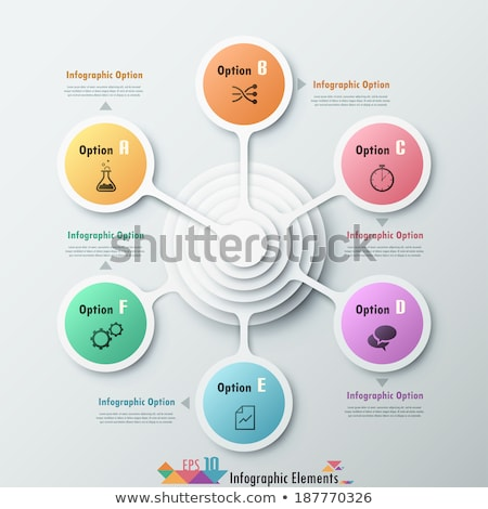 Infographic template. 6 options circle design with beautiful colors. Vector timeline elements for pr Stock photo © ukasz_hampel