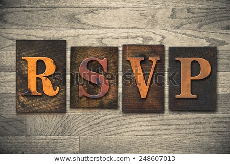 Partij vintage houten type woord Stockfoto © enterlinedesign