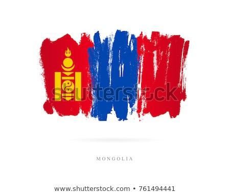 Mongolia flag, vector illustration on a white background Stock photo © butenkow