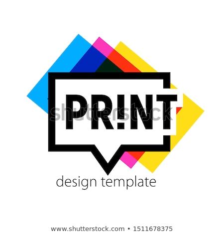 Design graphique imprimante copier papier bureau signe Photo stock © yupiramos